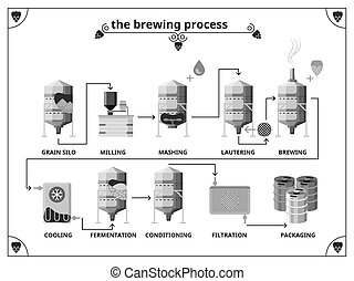 Brewery production process vector infographics template...