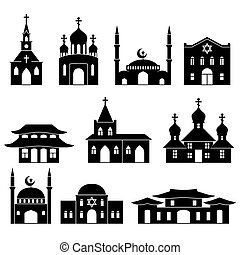 Church building black icons set Architecture judaism and...