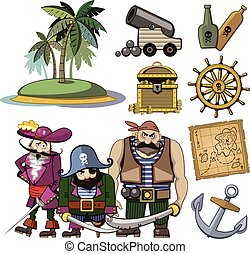Vector pirate characters set in cartoon style