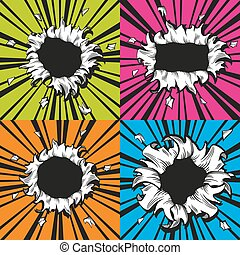 Vector holes set in comic book style. Boom and explosion,...