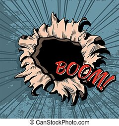 Comic style hole vector background. Boom explosion bomb,...