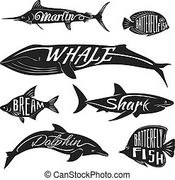 Retro, vintage fish with names Vector tattoo set bream and...