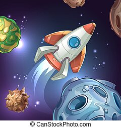Movie poster with planets, moon, stars and space rocket. Vector illustration