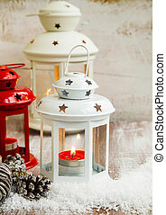 Vintage Christmas Lanterns Red and White with Candles and...