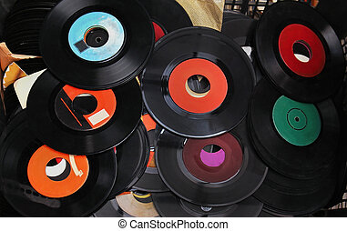 Vinyl records - Pile of old used vinyl records sold on...