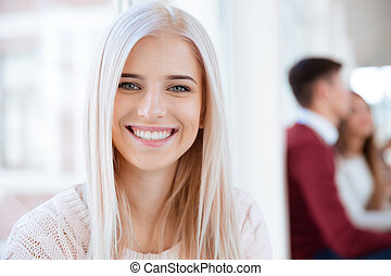 Portrait of a smiling female student