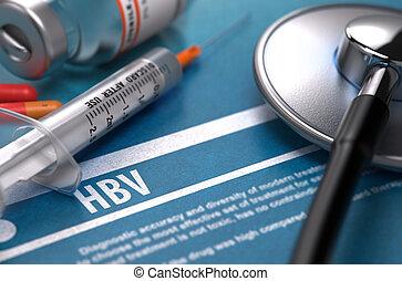 HBV Medical Concept on Blue Background - HBV - Medical...