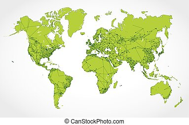 Abstract network map of the world