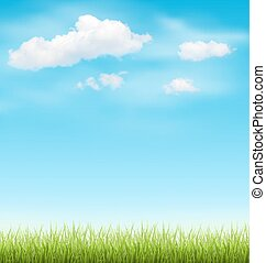 Green Grass Lawn with Clouds on Blue Sky - Green Grass Lawn...