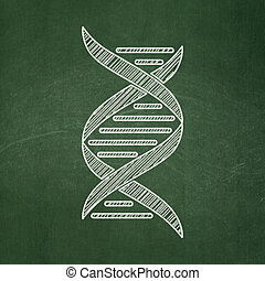 Science concept: DNA on chalkboard background