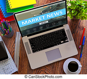 Market News Concept on Modern Laptop Screen.