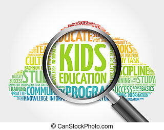 Kids Education word cloud with magnifying glass, concept