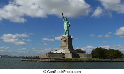 Liberty Statue view from Boat - Liberty Statue New York view...