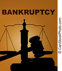 Bankruptcy with gavel and scales