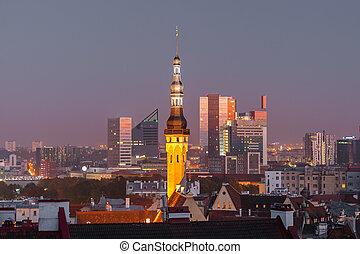 Night aerial cityscape of Tallinn, Estonia