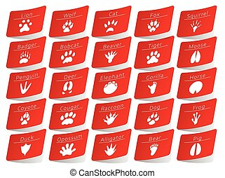 Animal track stickers set - Animal track red stickers set,...