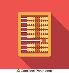Abacus calculation flat icon, colored image with long shadow...