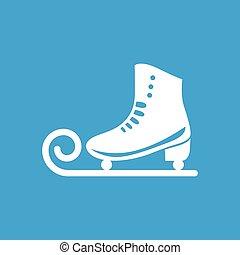 Ice skate icon - Ice skate white icon on blue background