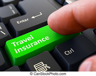 Travel Insurance - Concept on Green Keyboard Button. -...