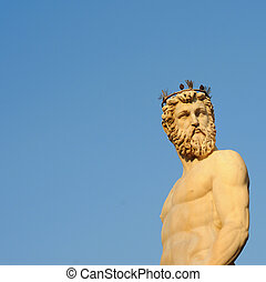 estátua, Netuno, contra, azul, céu,...