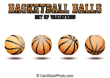 Basketball ball on white bckground - Different variations of...