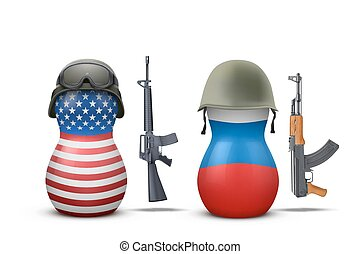 Russian and USA military dolls with gun. Vector...