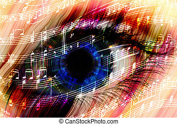 music background with abstract eye - music backgroun...
