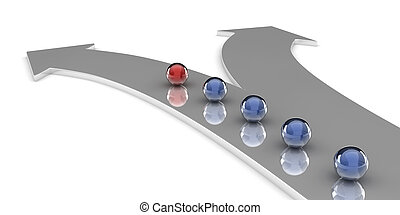 Decision - A 3d set of spheres on an arrow shaped path,...