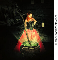halloween witch brewing a magic potion in an ancient pot and...