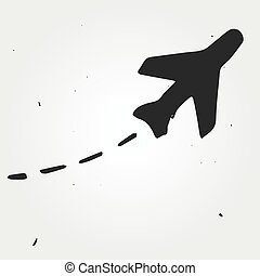 Aircraft trajectory hand drawn, flight map - Aircraft...