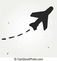 Aircraft trajectory hand drawn, flight map - Aircraft...