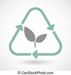 Line art recycle sign icon with a plant