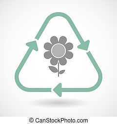 Line art recycle sign icon with a flower