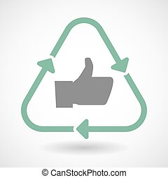 Line art recycle sign icon with a thumb up hand