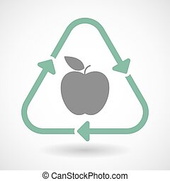 Line art recycle sign icon with an apple