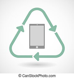 Line art recycle sign icon with a smart phone