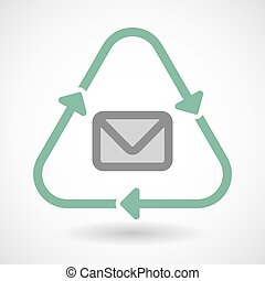 Line art recycle sign icon with an envelope