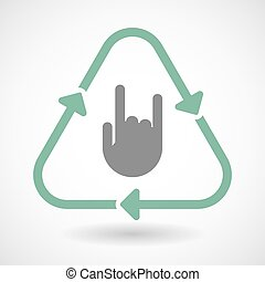 Line art recycle sign icon with a rocking hand
