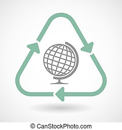 Line art recycle sign icon with  a table world globe