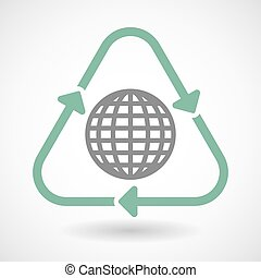 Line art recycle sign icon with a world globe