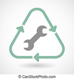 Line art recycle sign icon with a wrench - Illustration of a...