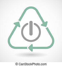 Line art recycle sign icon with an off button - Illustration...