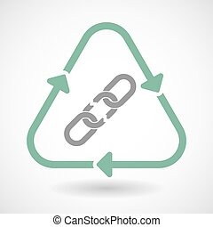 Line art recycle sign icon with a broken chain -...