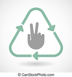 Line art recycle sign icon with a victory hand