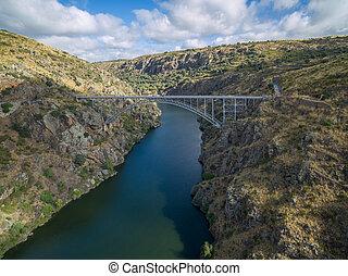 Aerial view of Requejo iron Bridge, Castile and Leon, Spain...