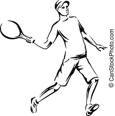 The athlete playing tennis
