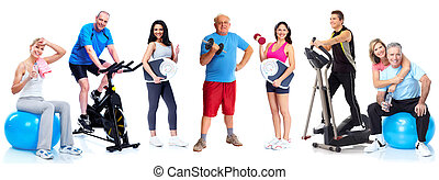 Group of healthy fitness people. - Group of healthy fitness...