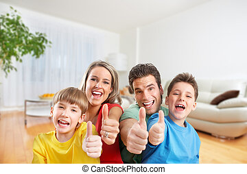 Happy family in a new house.