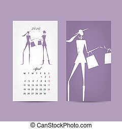Calendar 2016 grid Fashion girls design Vector illustration...