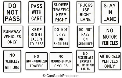 Collection of text-only regulatory signs used in the USA.